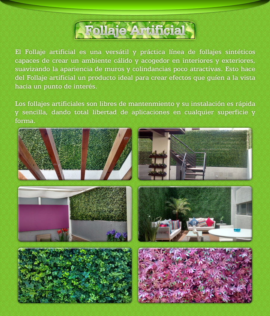 Follaje artificial muros verdes jardin vertical plantas for Jardin artificial interior